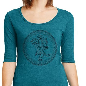 Womens Yoga T-shirt Circle Ganesha Black Print 1/2 Sleeve Scoopneck
