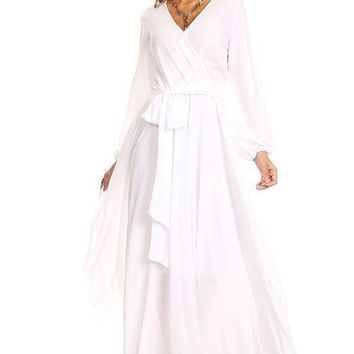 """Koi"" Faux Wrap Maxi Dress - White"