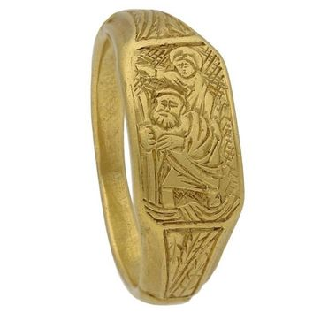 Medieval 15th Century Iconographic Gold Saint Christopher Ring
