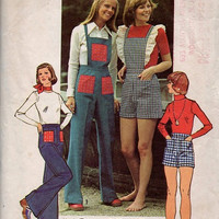 Simplicity 70s Boho Hippie Style Sewing Pattern Overall Pants Coveralls Short Shorts Daisy Dukes Hop Pants Waist 30