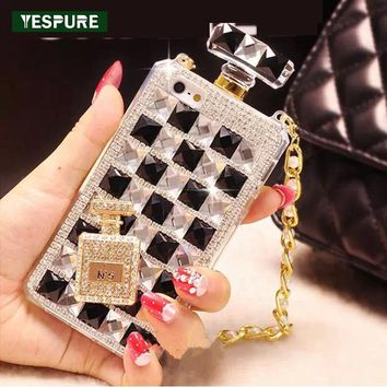 YESPURE Fancy Phone Cases for Girls Diamond Luxury Case Woman for Iphone 7plus Perfume Bottle Phone Accessories with Rope