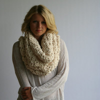 Super Chunky Cowl Scarf / The  Cincar / Textured Big Circle Scarf Crochet Infinity Shawl Hood Fisherman