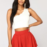 All Eyes On Me One Shoulder Top - White