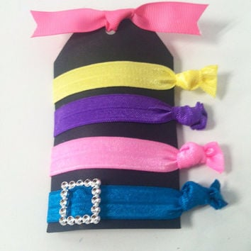 No Crease Hair Ties Creaseless Hair Ties Sport It-Vibrant (pink purple yellow turquoise)