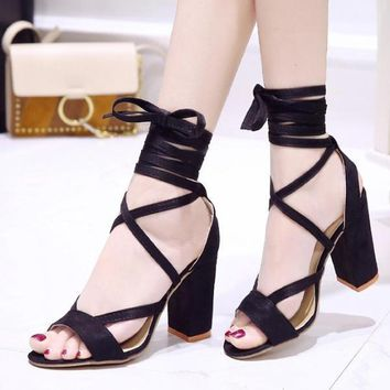 Thick High Heel Shoes Gladiator Open Toe Sandals Lace Up Ankle Strap Pumps