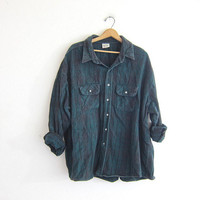 Vintage green boyfriend flannel / plaid shirt / urban grunge shirt / tomboy shirt / plus size shirt