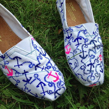 Lilly Pulitzer anchor print hand painted Toms by DelishiousKicks