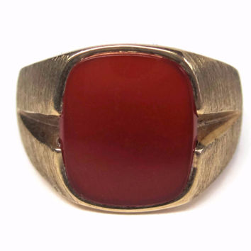 Mens Vintage 10K Yellow Gold Carnelian Ring Size 10