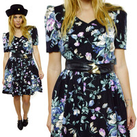 Vintage 80s Miss Oops California Full Skirt Casual House Floral Dress