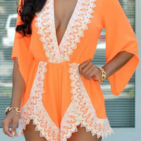 Orange V-Neck Half Sleeve Lace Romper