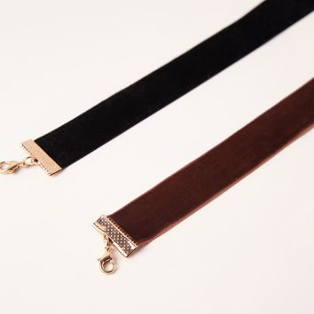 Missguided - Two Pack Choker Necklace Black Brown
