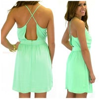 Zinnia Green Cross Back Dress