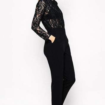 Black High Waisted Long Sleeves Jumpsuit with Sheer Lace Detail