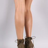 Qupid Suede Drawstring Chunky Heeled Booties