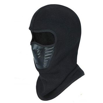 Winter Warm Full Face Cover Thermal Fleece Lined Windproof Anti Dust Ski Mask Balaclava Hood Rubber Breathable Vent
