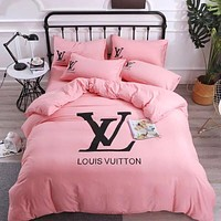 LV Blanket Quilt Coverlet 2 Pillows Shams 4 PC Bedding Set