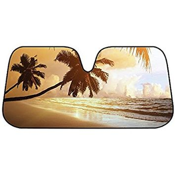 BDK Golden Palm Tree Beach Sunset Auto Windshield Sun Shade for Car SUV Truck - Bubble Foil Folding Accordion
