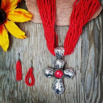 Red Multi Strand Beaded Cross Necklace
