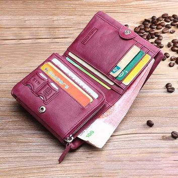 Trifold Women Genuine Leather Solid Wallet 13 Card Slot