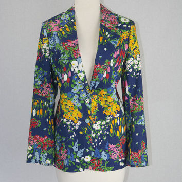 Vintage 1980s Floral Blazer Bright Colorful Jacket by Peter Popovitch So Fun!