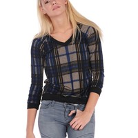 Vintage Havana Plaid Deep V Neck Top