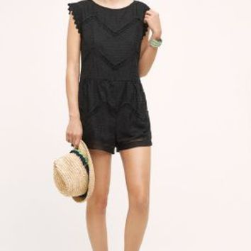 Elevenses Chevron Lace Romper in Black Size: