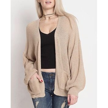 final sale - dreamers - lightweight open cardigan with balloon sleeves - taupe