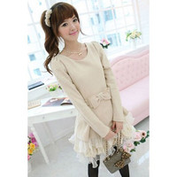 Apricot Long Sleeve Ruffled Dress
