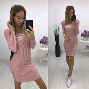 Women Knitted Sweater Dress Spring Autumn Sexy Slim Bodycon Dresses Elastic Skinny Dress Vestidos WS4029V