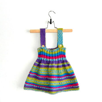 Knitted Girl Tunic Dress - Multicolor with ''wooden flower'' buttons, %100 wool, 9-12 months