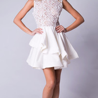 BABY DOLL LACE DRESS IN WHITE
