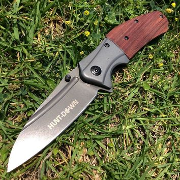 """9"""" Hunt-Down Spring Assisted Wood Handle Knife with Belt Clip"""