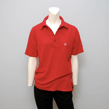 Vintage Red and White Polo Golf Shirt with Phoenix Logo on Pocket - Men's Size Large - Retro Soft and Thin - Campus Brand