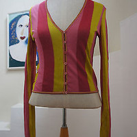 John Galliano Knitted Top Pink & Yellow Strips Long Sleeve European Design