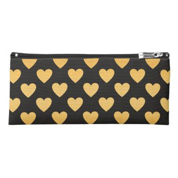 Glam Gold and Black Hearts Patterned Pencil Case