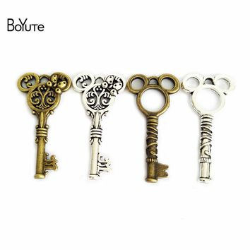 BoYuTe 30Pcs 23*47MM Metal Mickey Key Pendant Vintage Antique Bronze Silver Plated DIY Charms Pendants for Jewelry Makings