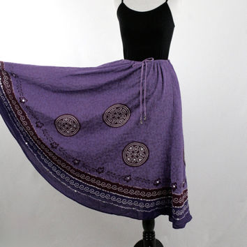 1990s Purple India Cotton Boho Skirt Sequin Accent