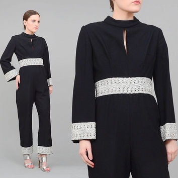 70s Jumpsuit Black + Metallic Silver Vintage MOD Jumper Keyhole CUT OUT 1970s Long Sleeve Romper Cocktail Pantsuit Medium M