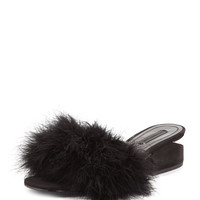 Alexander Wang Lou Marabou Feather Sandal, Black