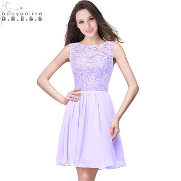 Robe Demoiselle D'honneur Real Image 11 Colors Appliques Lace Lavender Short Bridesmaid Dresses 2017 Cheap Wedding Party Dress