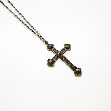 Large cross necklace, Bold statement mens religious gift mens rustic necklace, Antique cross religious necklace, Christian necklace