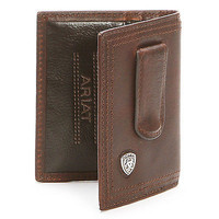 Ariat Bi-Fold Money Clip Leather Western Men's Wallet-Dark Copper