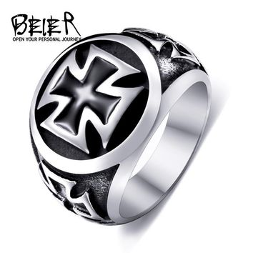 Beier new store 316L Stainless Steel high qualityCool Fashion Iron Cross Ring Man Black Oil Painting jewelry LLBR8-073R