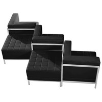 HERCULES Imagination Series Black Leather 5 Piece Chair & Ottoman Set