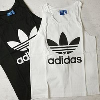 Adidas Men's Black/White Trefoil Logo Tank