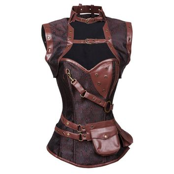 Plus Size S-6XL Leather Gothic Clothing Sexy Women Vintage Retro Steel Boned High Neck Steampunk Corset With Jacket And Pouch