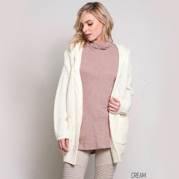 late at night knit cardigan - cream