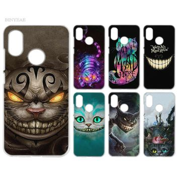 BINYEAE Case Cover Clear Hard PC Plastic for Xiaomi Redmi Note 4 4X 5 Plus A1 S2 A2 8 SE Cheshire Cat alice in wonderland
