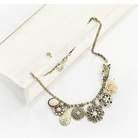 Retro Style Rhinestone Embellished Alloy Flower Shape Many Pendants Necklace For Women