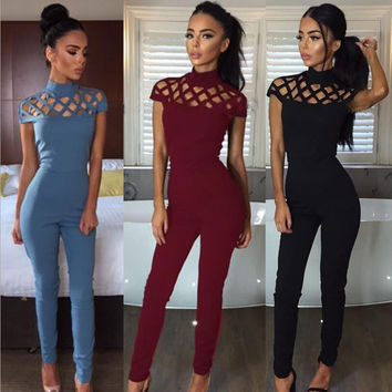 Mila High-Neck Cut Out Detail Jumpsuit